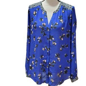 NYDJ Blue Floral Button Up Long Sleeve Blouse